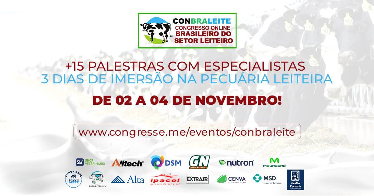 CONBRALEITE - Congresso Online Brasieliro do Setor Leiteiro - está com inscrições abertas!